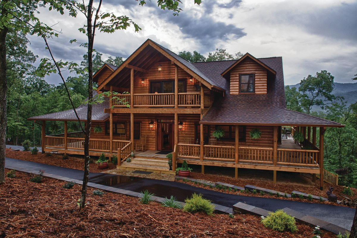 Single Story House Plans With Wrap Around Porch Satterwhite Log Homes 2016 Photo Gallery